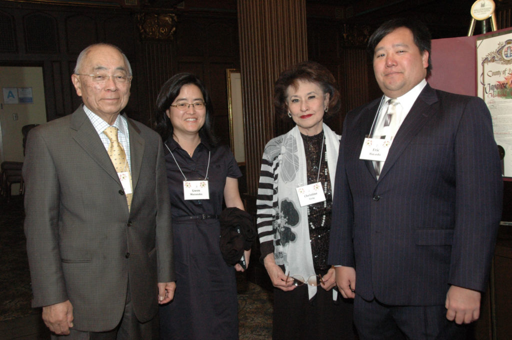 Henry Noguchi, M.D., Rafu Shimpo staff writer Gwen Muranaka, Chris Uriu, and (need name)